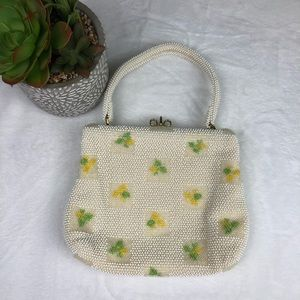 Vintage White Lumured Beaded Purse Made in USA